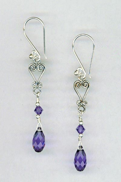 tanzanite chand earrings