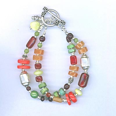 Southwest Multi-Gemstone two-strand bracelet