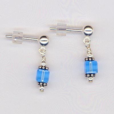 Aqua Crystal Cube Sterling Post Earrings