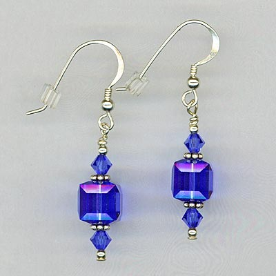 Sapphire Crystal cube stack Earring