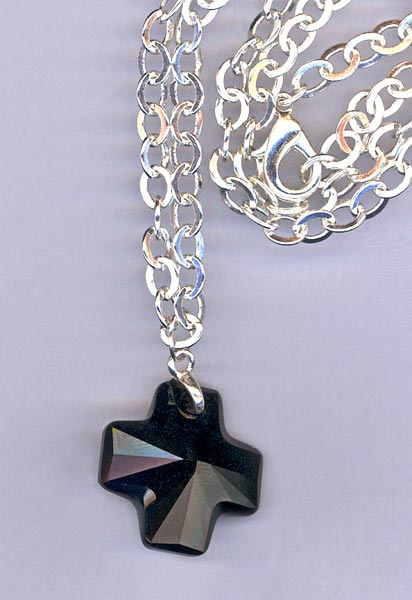 black jet cross chain necklace