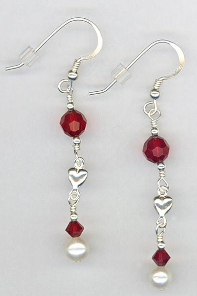 siam red pearl heart earrings