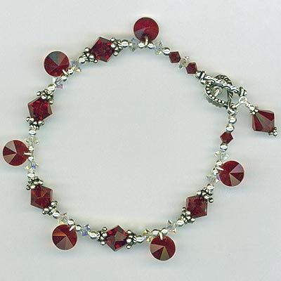 Red Siam crystal heart bracelet