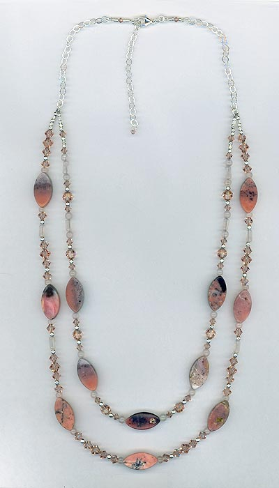 pink opal 2 strand necklace