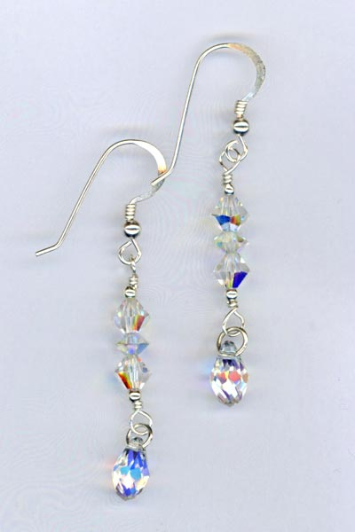 crystal ab stack drop earring