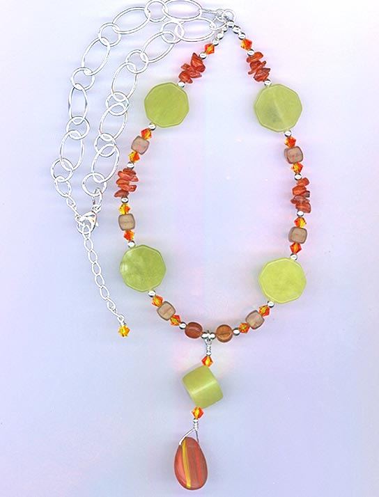 Necklace New Lime Jade & Orange Carnelian