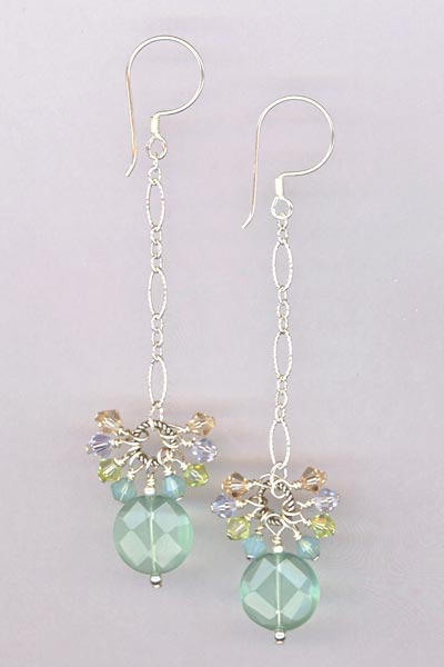 chalcedony crystal chain earrings