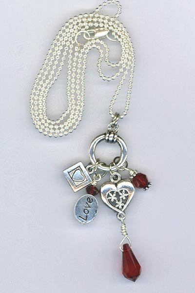 red crystal heart charm chain necklace