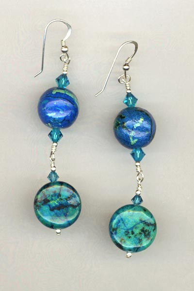 blue chrysocolla crystal earring