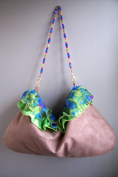 Lime green blue tan ruffle purse