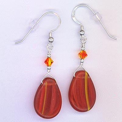 Earring Fire Opal Crystal & drop