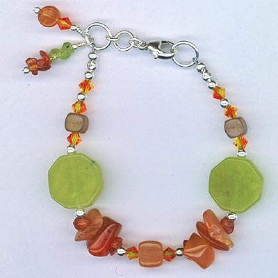 Bracelet Carnelian Chip & New Lime Jade