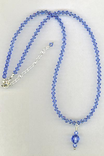 Blue sapphire crystal necklace
