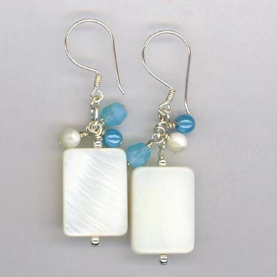 Mop rect blue dangle earring