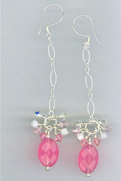 pink jade crystal chain earrings
