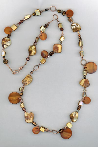 copper pearl Link Necklace