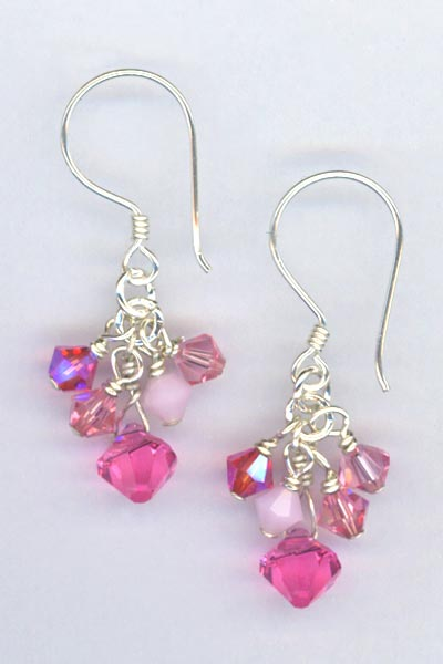 pink crystal cluster bali earring