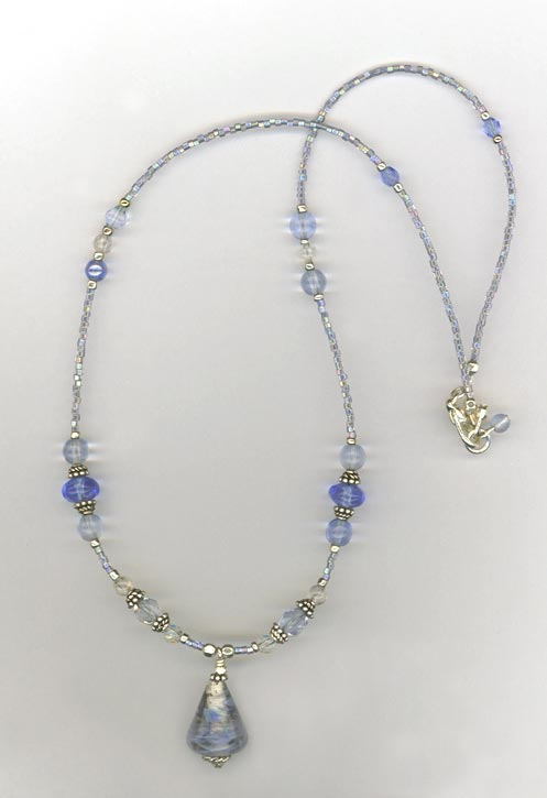 Mother's Day Blue Lampwork Delicate Beaded Sterling Silver Necklace