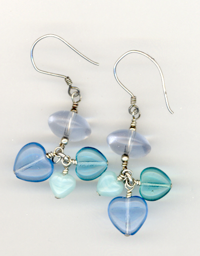 Blue Heart Charms Earrings