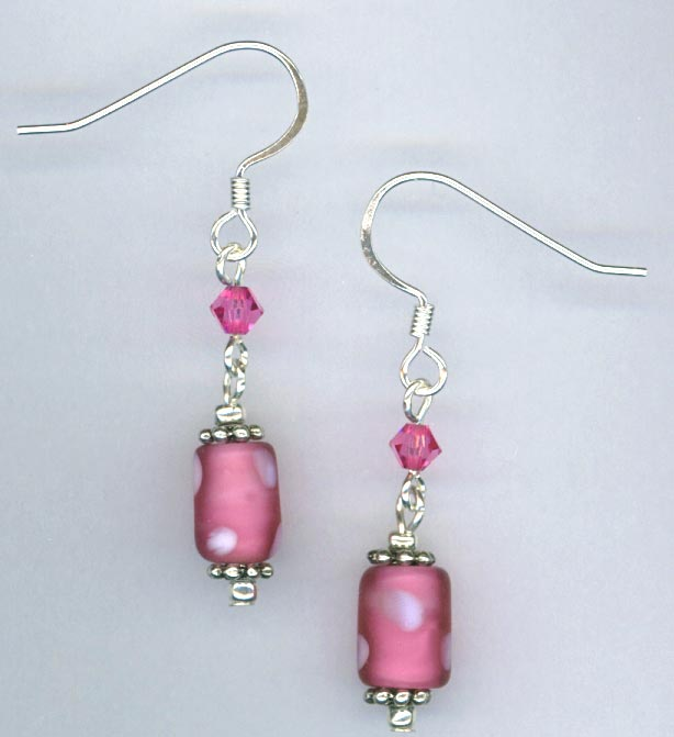 Pink white polka dot crystal earring