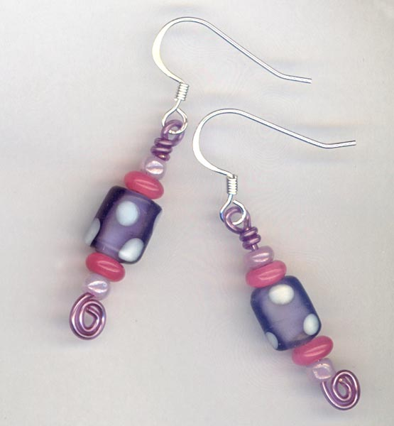 Purple Pink polka dot whimsy earring