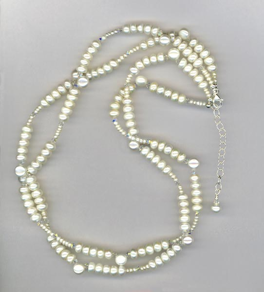 Freshwater White Pearls Swarovski Crystal Bridal Wedding 2-strand Necklace