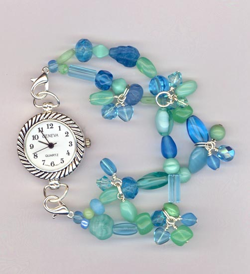 blue/green glass charm watch