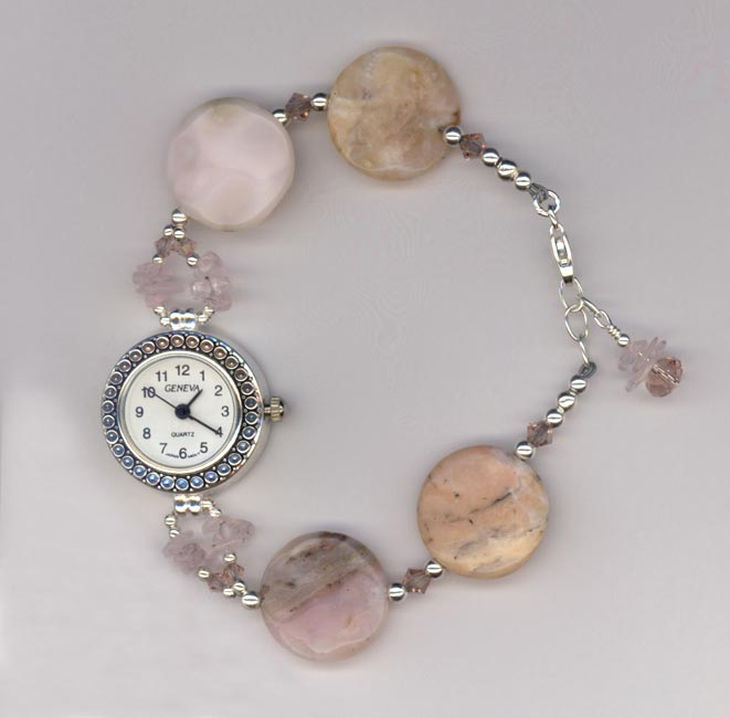Pink Opal Swarovski Crystal Sterling Silver Beaded Geneva Watch