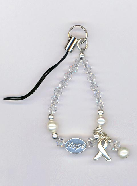 Hope Crystal Pearl Phone Charm