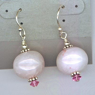 Rose Quartz & Swarovski Crystal Earrings Pink Necklace