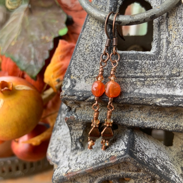 Carnelian Copper Swarovski Fall E