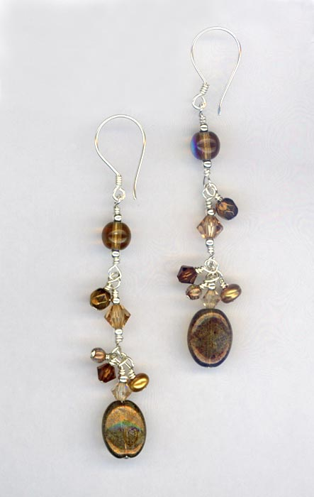 copper brown dangle earrings