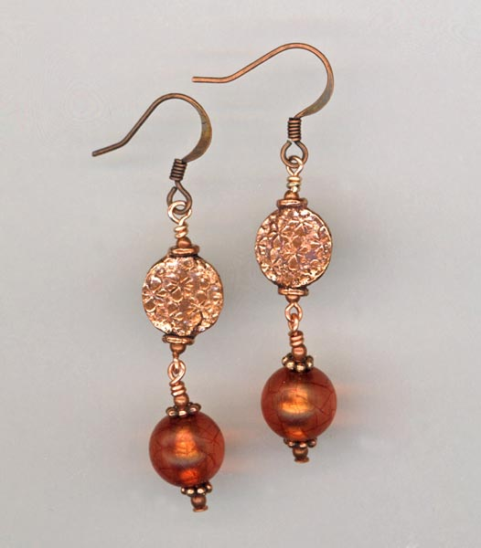 copper & Amber itan glass earrings