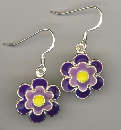 Daisy Delight Purple ~ Earrings
