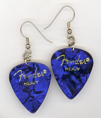blue pearl fender gp earrings