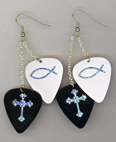 Black & White Guitar Pick Chandeleir Earrings