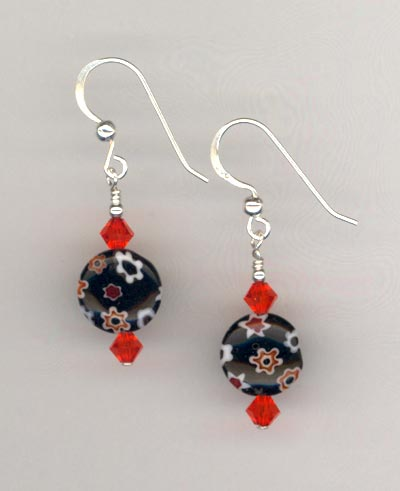 Orange Black Millifiore earring