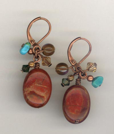 copper jasper cluster earrings