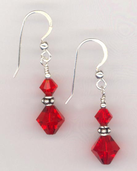 Light Siam stack Crystal Earrings
