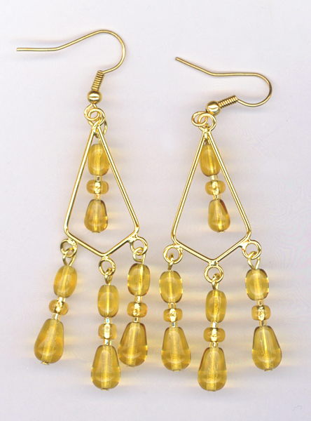 gold triple chandelier earring