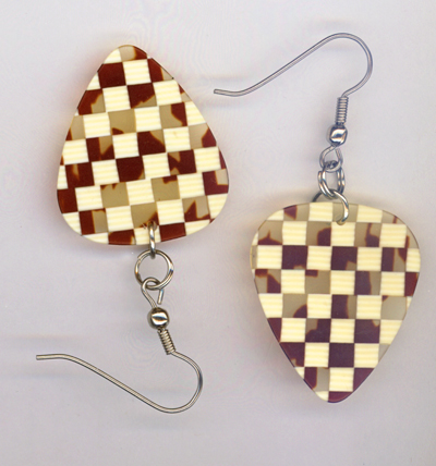 brown Checked GP Earring