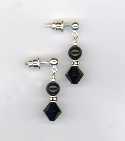 santa's helper black post earrings