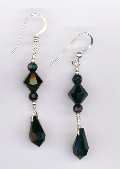 black pendant crystal stack earrings
