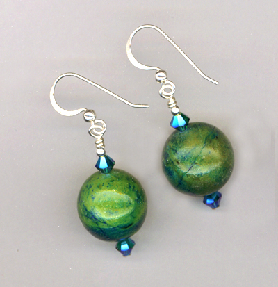 green blue chrysocolla round earring