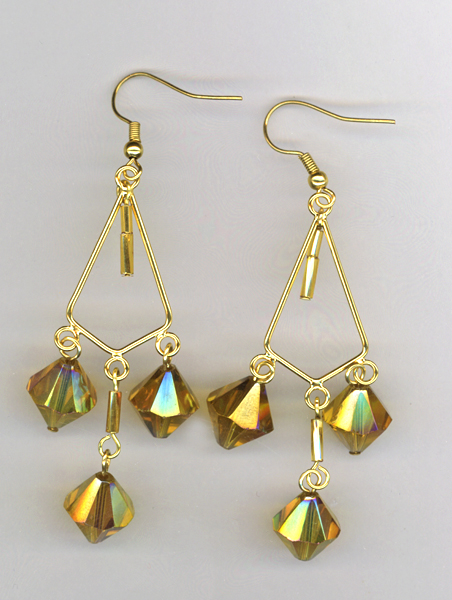 gold triangle chand earrings