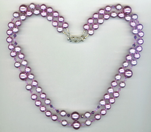 lavender pearl crystal 2 strand necklace