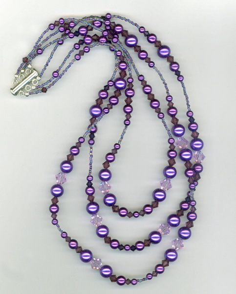 tirple purple pearl crystal necklace
