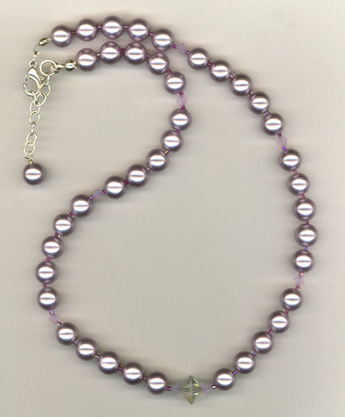 lavender pearl crystal necklace