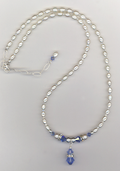 bridal blue pearl necklace