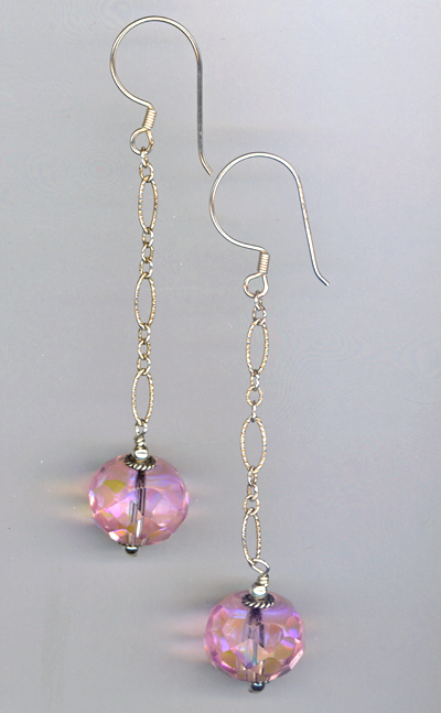 Pink Celestial Crystal Long Chain Bali Earrings
